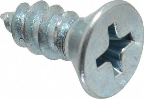 """Phillips Drive 1//2/"""" OAL Sheet Metal Screw Steel #10 Flat Head Qty-100"""