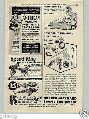 1959 Paper Ad L&s Mirrolures Fishing Bait D&m Draper Maynard Baseball Football Delaying Senility Collectibles