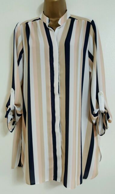 NEW ExEv-ns Plus Size16-28 Striped Nude Navy White Pink Chiffon Blouse Shirt Top