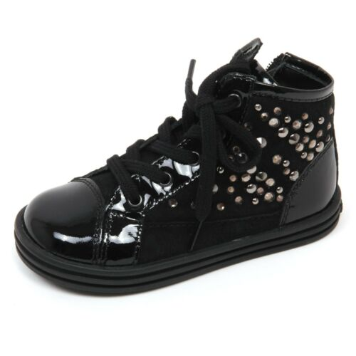 C8198 sneaker bimba HOGAN REBEL R141 scarpa borchie nero boot shoe kid