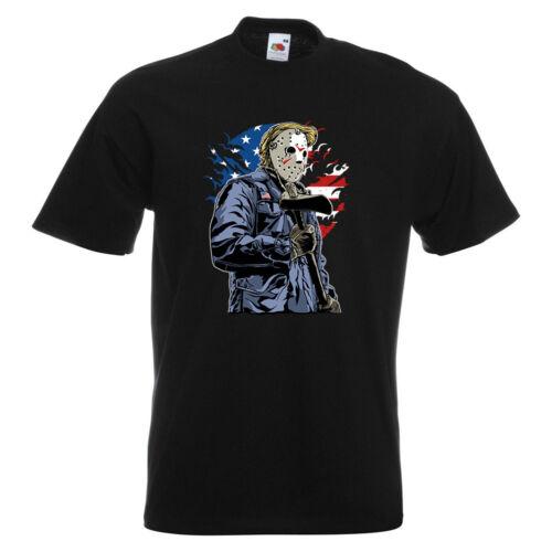 American Killer Mens PRINTED T-SHIRT USA Jason Mask Serial Killer Horror