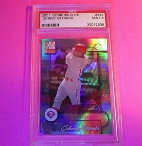 2001 Donruss Elite Johnny Estrada ROOKIE RC /1000 #224 PSA 9 MINT Rookie