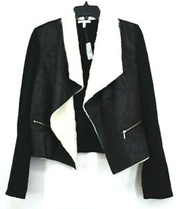 Maurices Womens Black Long Sleeve Jacket Open Front White Faux Fur Size Medium
