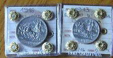 LOTTO 2 MONETE REGNO D'ITALIA QUADRIGA 2 LIRE 1916 1 LIRA 1913 sigillate SPL