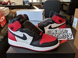 91b0f36771c7 Nike Air Jordan Retro I 1 High OG 2018 Bred Toe Gym Red Black White ...