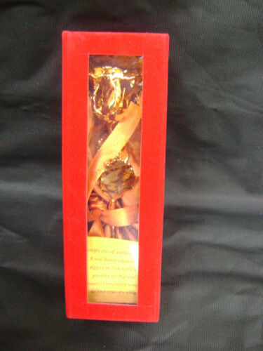 """CHRISTMAS GIFT 24K Gold Dipped 6/"""" Real Rose with Gold Satin /& Red Velvet Box NEW"""