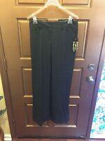 Vertigo Paris Black Pinstripe Polyester Blend Cuffed Pants - Size 4