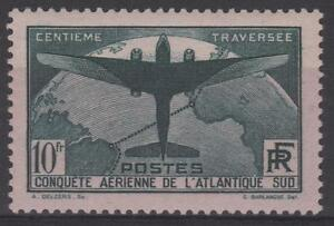 FRANCE-STAMP-TIMBRE-321-034-TRAVERSEE-ATLANTIQUE-SUD-10F-VERT-034-NEUF-xx-TB-N162