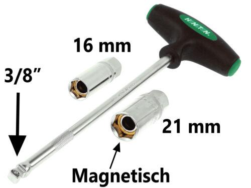 """21 mm Zündkerzen Steck Nuss 3//8/"""" Steckschlüssel T-Griff Zündkerzenschlüssel 16"""