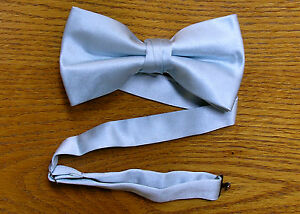 Bow Tie Light Blue Satin Pre TiedSteampunk Retro Tuxedo Wedding Prom Groom