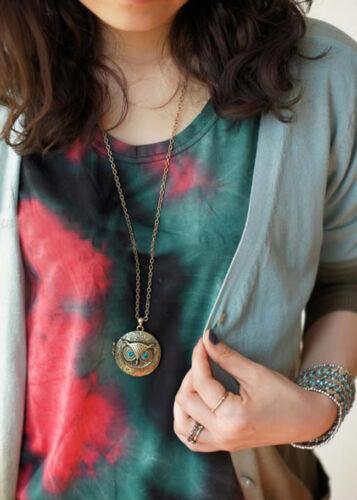 Fashion Antique Bronze Blue Eye Owl Locket Retro Pendant Long Necklace Jewelry