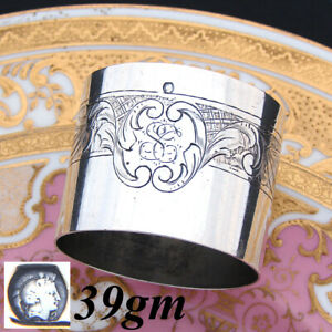 Antique-French-Sterling-Silver-Napkin-Ring-Scrolled-Foliage-amp-Rose-or-Floral
