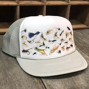 Fly-Fishing-Flies-Trucker-Hat-Vintage-80-s-Style-Snapback-Cap-Trout-Salmon-Grey