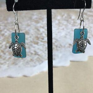 Sea-Beach-Glass-Pebble-Dangle-Earrings-Sea-Turtle-Surgical-Steel-Ear-wire