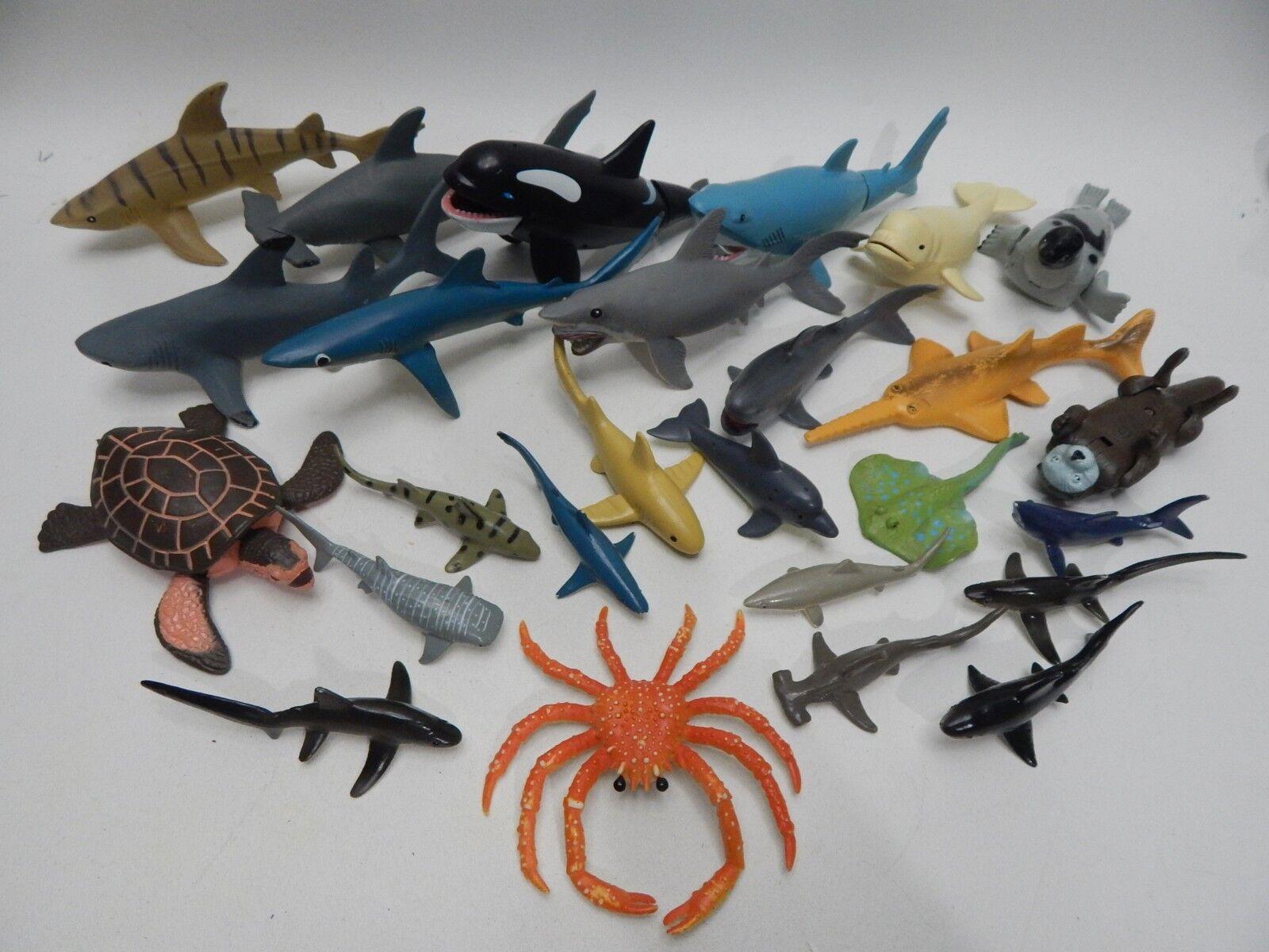 Lot Dinosaur Toys Figures Safari K&M Sea Animals Shark Killer Whale Beluga Seal