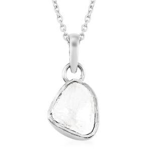 "925 Sterling Silver Polki Diamond Pendant Necklace Size 20"" Ct 0.8 I Color I3"