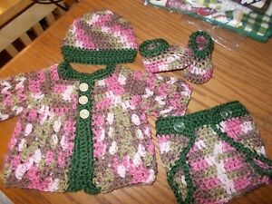 Handmade-Crochet-baby-sweater-hat-Shoes-amp-diaper-cover-Rocky-Mountain-Marty