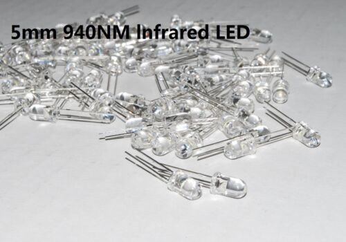 100pcs 5mm lnfrared IR emitter 940nm 200nw nitght vision camera USA A241