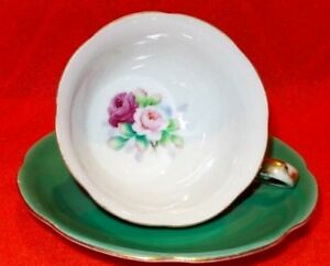 Vintage Meiko China Cup & Saucer Emerald Green With Roses in cup made in Japan