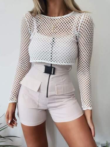 NEW WOMEN/'S Long Sleeve Fishnet Crop Top White