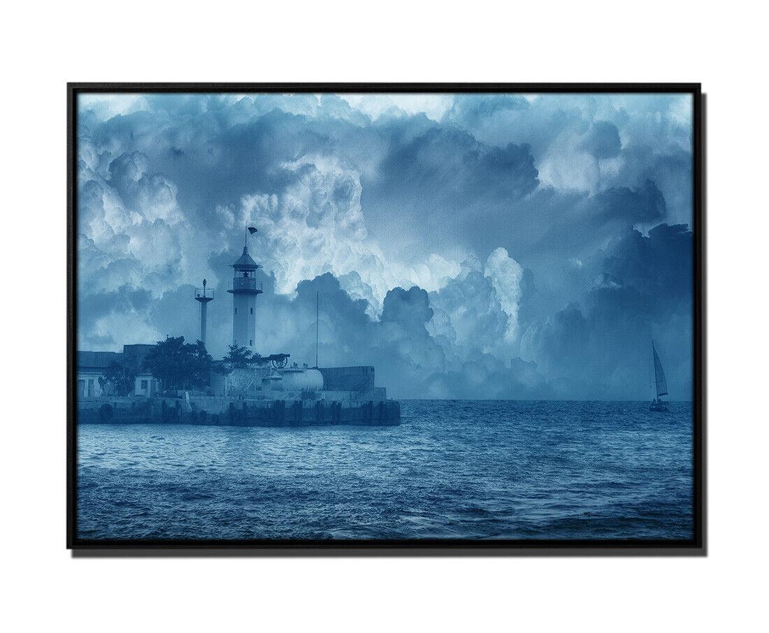 105x75cm Leinwandbild Petrol Malerei SegelStiefel neben Leuchtturm