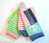 2 Pr Lemon Ladies Bamboo Blend Crew Trouser Socks Stripes / Anchor Pastels -