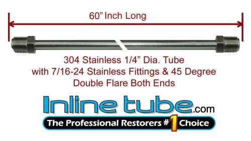 """1//4/"""" Brake Line 60 INCH STAINLESS STEEL 7//16-24 Tube Nuts 45 Degree Double Flare"""