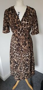 8188b14e5d Image is loading PRIMARK-Leopard-animal-print-wrap-midi-dress-SIZE-
