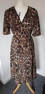 Image is loading PRIMARK-Leopard-animal-print-wrap-midi-dress-SIZE- ebbbe54ea