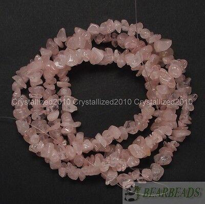"Natural Rose Quartz Gemstone 5-8mm Chip Nugget Loose Spacer Beads 35"" Strand"