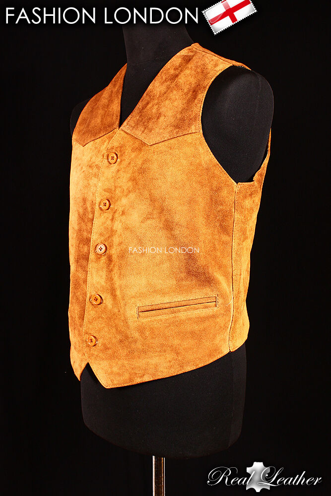 'WESTERN' Tan Suede Casual Formal Real Genuine Lambskin Leder Waistcoat