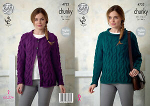 2479aff1d King Cole Ladies Chunky Knitting Pattern Raglan Cabled Sweater ...