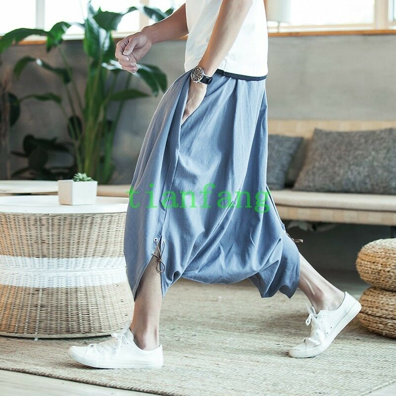 Mens Harem Loose Pants Trousers Linen Blend Bloomers Summer Comfort Casual 2018