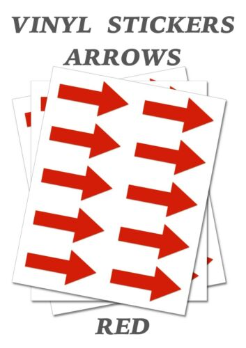 120 Red  Arrow Shaped Stickers Self Adhesive Vinyl Labels size 40mm x 20mm