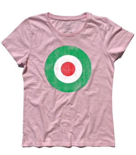 T-SHIRT donna TARGET ITALIA ANTICHIZZATO colori bandiera italiana MODS VESPA