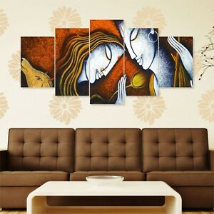 Lord Krishna 5 Panels Wall Painting For Living Prayer Room 168