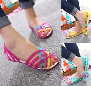 Women-039-s-Summer-Open-Toe-Jelly-Flat-Sandals-Beach-Rainbow-Color-2018-Shoes-Sandal