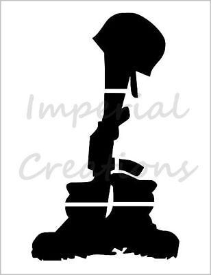 "Battlefield Cross Military Gun Helmet 11/"" x 8.5/"" Custom Stencil FREE SHIPPING"