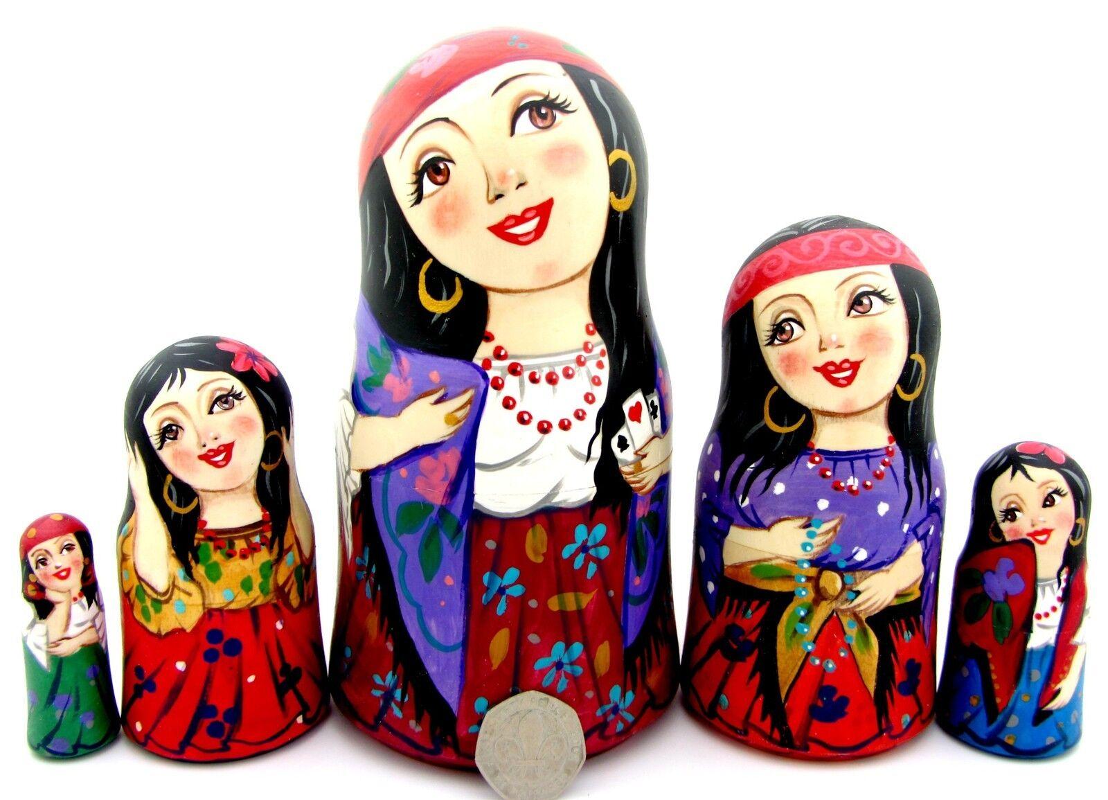 Gipsy Ragazze matriosca russo babushka nidificazione bambole Autentico Zenina Firmato Art
