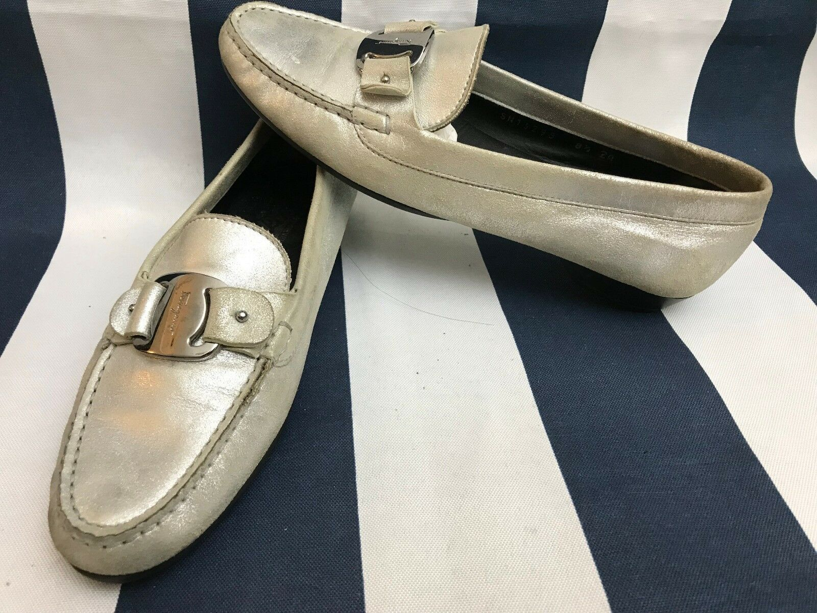 SALVATORE FERRAGAMO Silver Metallic Leather Slip On Casual Loafers shoes 8.5