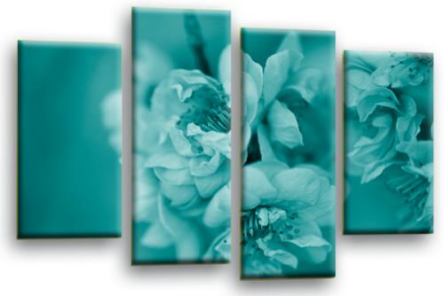 Floral Flower Wall Art Picture Teal Grey Black White Canvas Print Split