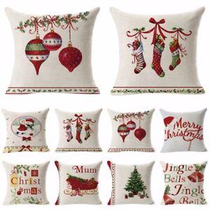 Christmas Pillow Covers Ebay: Cotton Linen Christmas Xmas Socks Pillow Case Throw Cushion Cover    ,