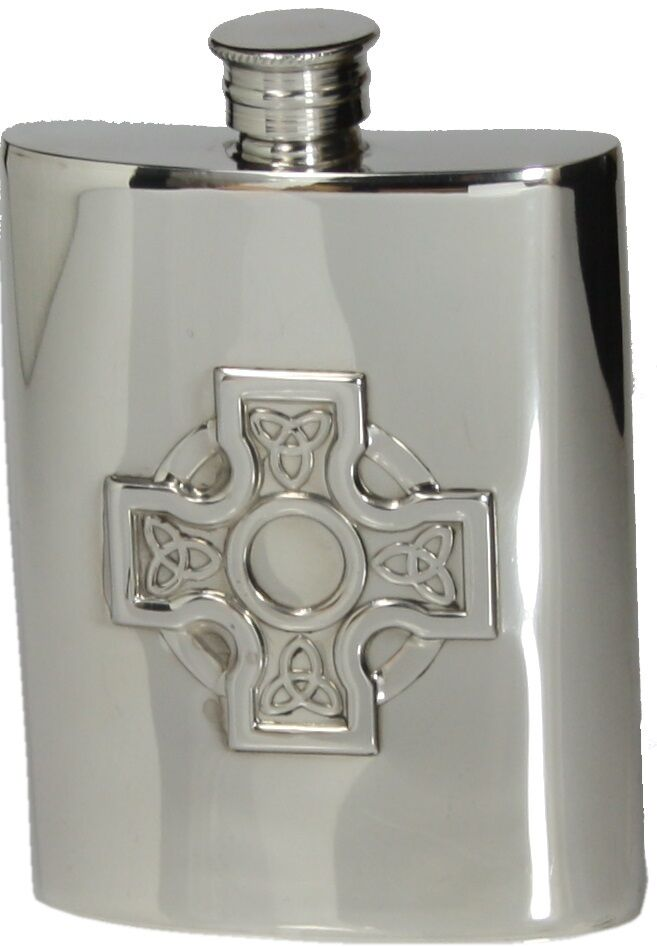 6 oz (environ 170.09 g) anglais étain Hip Flask W. Cross Handmade by Pinder Bros Sheffield NEUF
