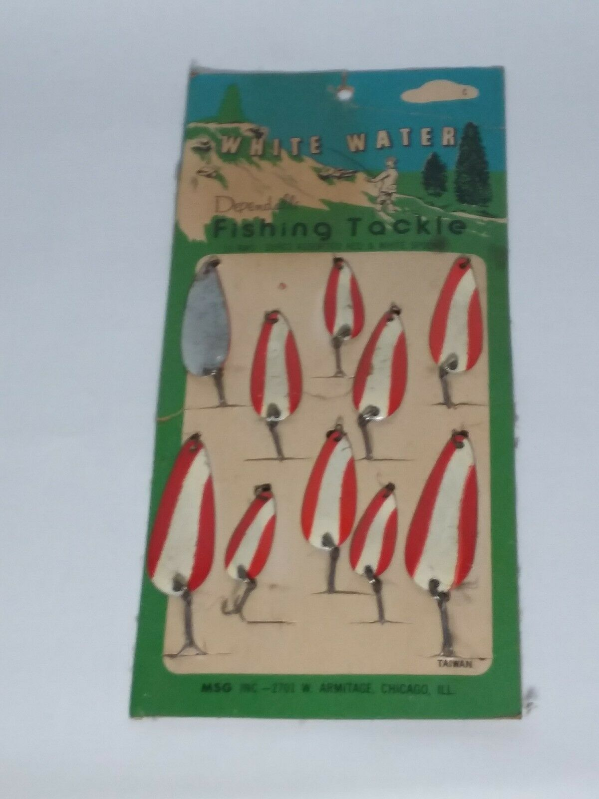 Vintage Whitewater Red  And White Fishing Lure Spoon  guaranteed