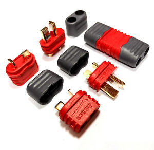 5-Paar-Amass-T-Dean-Deans-T-Plug-Stecker-Buchse-Goldstecker-mit-Schutzkappen-40A