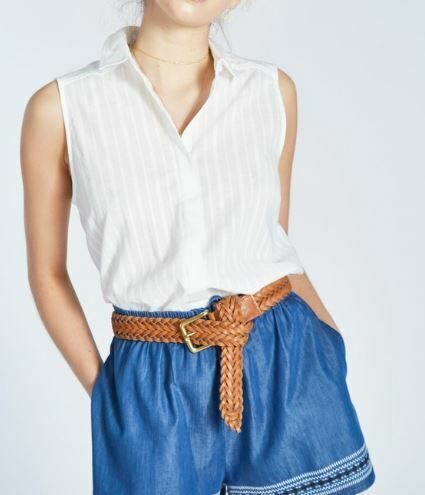 Jack Wills aldsworth Chemise Sans Manches Top femme blanc vintage UK 12 REF71