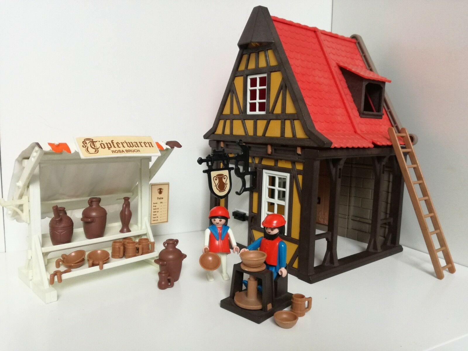 Jugarmobil 3455 - Medieval amarillo Pottery House with market stall (klicky)