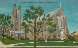 Washington-Pennsylvania-Second-Presbyterian-Church-1957-Postcard
