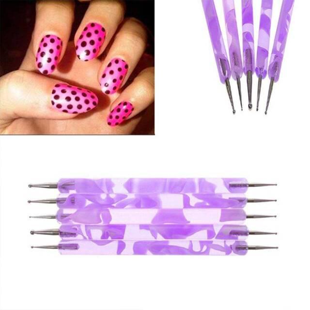 5Pcs/Set Marbleizing Nail Art Dotting Pen Painting Drawing Manicure Tool