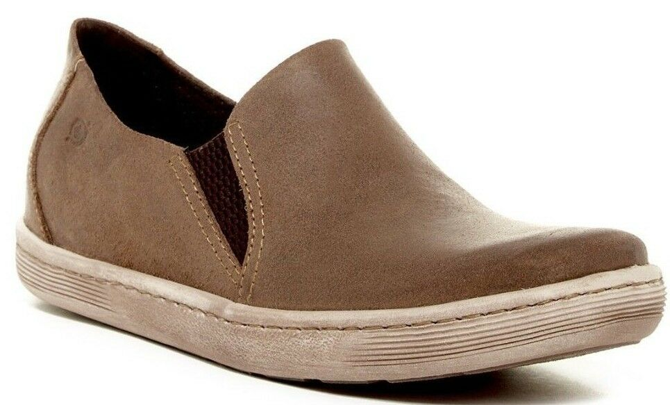 NIB Born Men's Genuine Suede Navarro Slip On Sneaker Shoe TAN Brown Sz 11.5